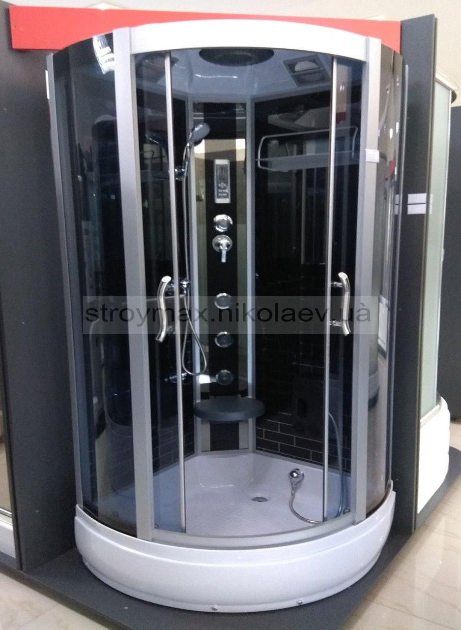 Гидробокс SAN B383S (100*100*215) поддон 17/28см чёрный кирпич сатин/серое