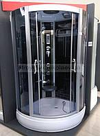 Гидробокс SAN B383S (100*100*215) поддон 17/28см чёрный кирпич сатин/серое, фото 1