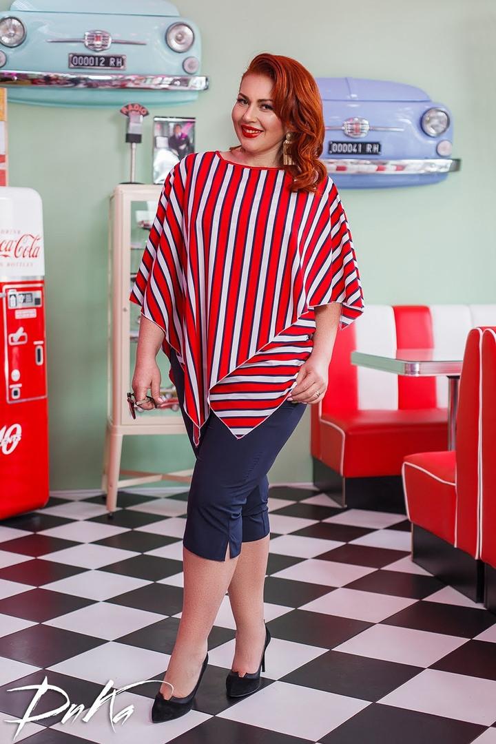 Костюм женский  блуза в полоску  с бриджами 50/52, 54/56  Цвета -  красный, зеленый