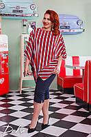 Костюм женский  блуза в полоску  с бриджами 50/52, 54/56  Цвета -  красный, зеленый, фото 1