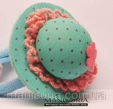Детская резинка Код 0317, шляпка, бирюза