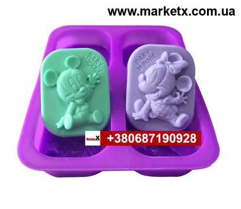 Пищевая силиконовая форма овальная с узором Микки Мауса, фото 2