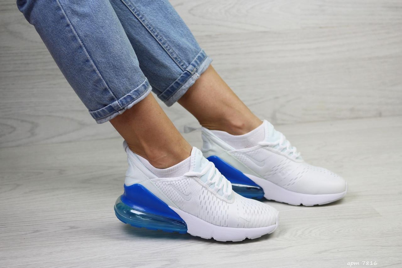 Женские кроссовки Nike Air Max 270 (бело-синие)