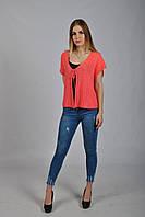 4993c3724e5 Женская вязаная ажурная кофта - сетка красного цвета с коротким рукавом