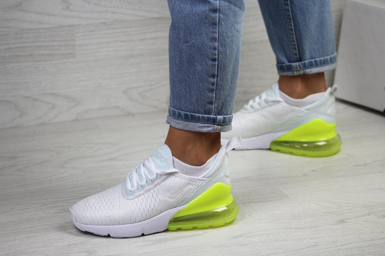 Женские кроссовки Nike Air Max 270 (белые с желто-салатовым)