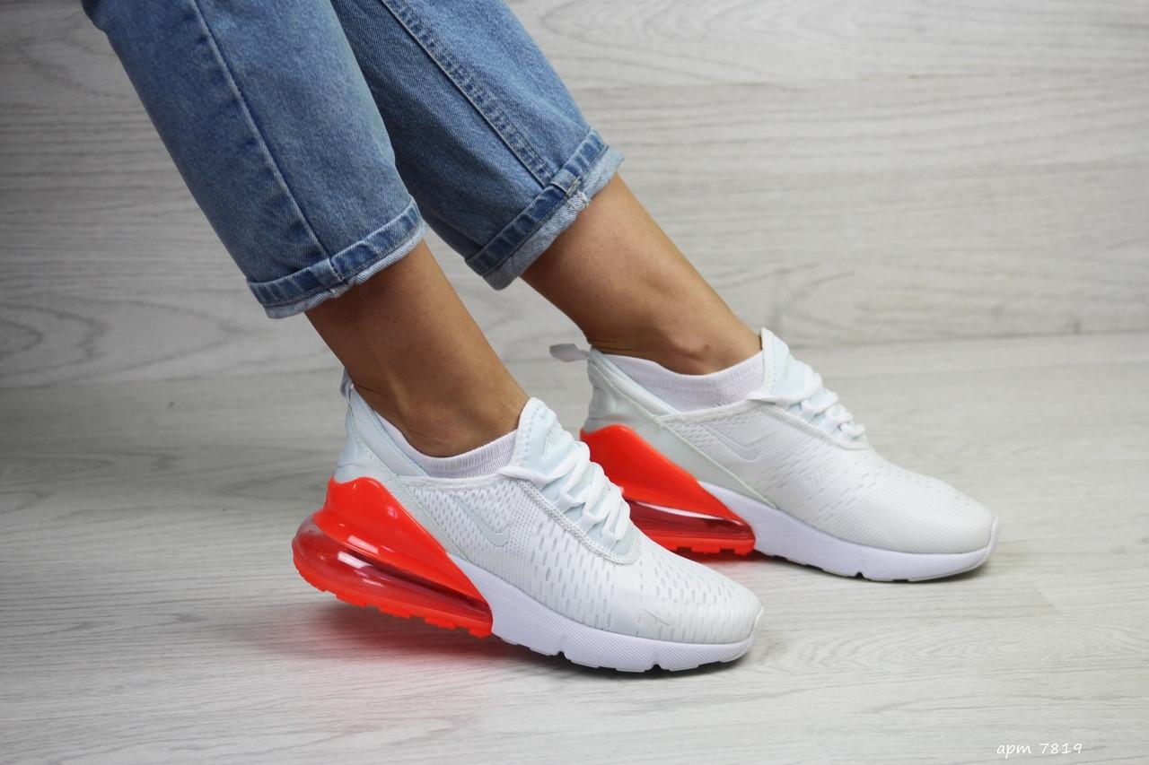 Женские кроссовки Nike Air Max 270 (бело-оранжевые)