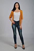 c0e271ed933 Женская вязаная ажурная кофта - сетка оранжевого цвета с коротким рукавом