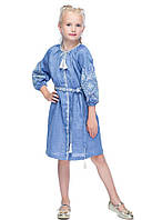 Платье для девочки лен Иванна джинс