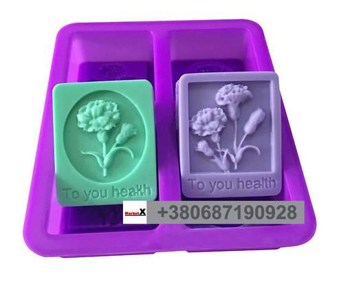 Пищевая силиконовая форма прямоугольная с цветами, фото 2