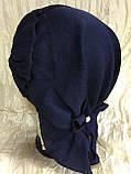 Летняя бандана-шапка-косынка-чалма голубая с хвостом сзади, фото 9