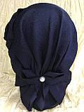 Летняя бандана-шапка-косынка-чалма голубая с хвостом сзади, фото 7