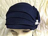 Летняя бандана-шапка-косынка-чалма голубая с хвостом сзади, фото 10