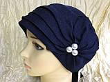 Летняя бандана-шапка-косынка-чалма голубая с хвостом сзади, фото 8