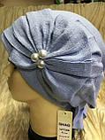 Летняя бандана-шапка-косынка-чалма голубая с хвостом сзади, фото 3