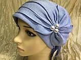 Летняя бандана-шапка-косынка-чалма голубая с хвостом сзади, фото 6