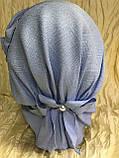 Летняя бандана-шапка-косынка-чалма голубая с хвостом сзади, фото 2