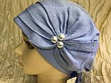 Летняя бандана-шапка-косынка-чалма голубая с хвостом сзади, фото 4
