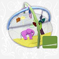 """Килимок ігровий для новонароджених """"Слон"""" з дугами і підвісними іграшками"""