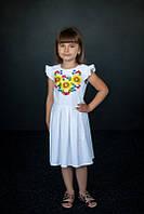 Платье для девочки Подсолнухи белое