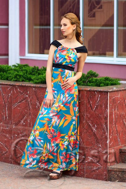 53338dc15cd Длинный Летний Сарафан-Платье в пол ЦВЕТЫ! 2 Цвета!  продажа