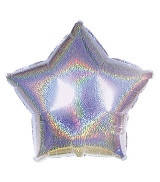 Кулька фольгована зірка срібна голограма
