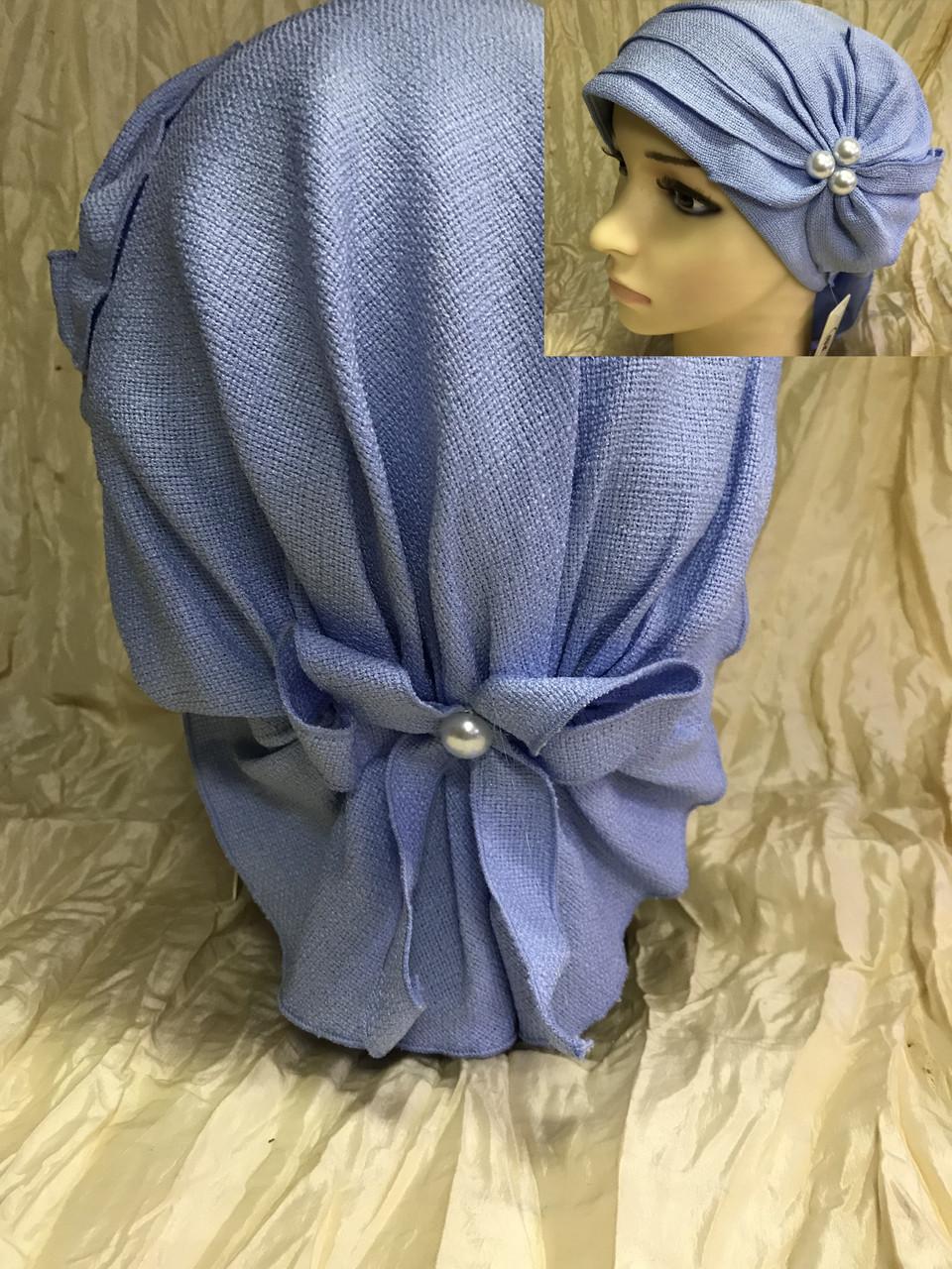 Летняя бандана-шапка-косынка-чалма голубая с хвостом сзади