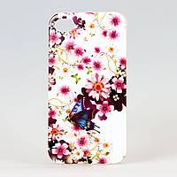 Чехол силиконовый для Iphone 4/4S Бабочки Цветочки, фото 1