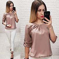 Блузка /блуза с брошью и рукавом 3/4, модель 779 , в 13-ти современных расцветках