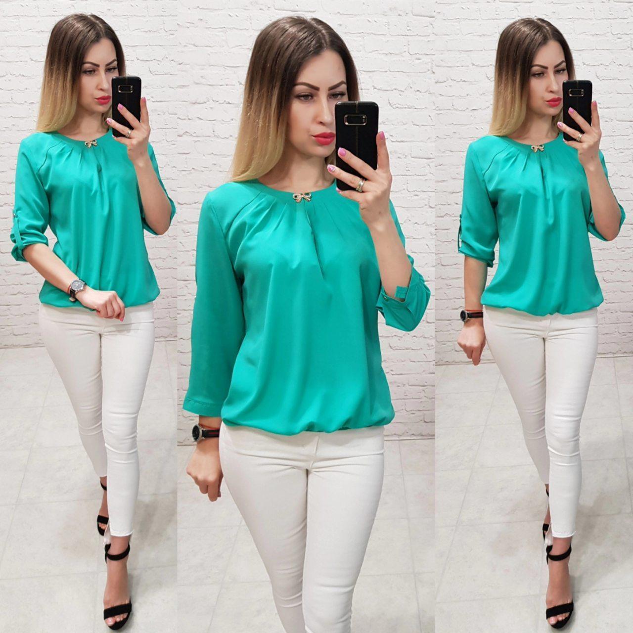 Блузка /блуза з брошкою і рукавом 3/4, модель 779 ,колір бірюза