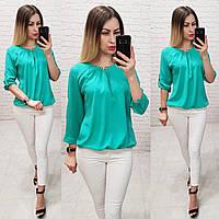 Блузка /блуза с брошью и рукавом 3/4, модель 779 ,цвет бирюза