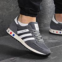 Мужские демисезонные кроссовки Adidas 7824 серые с белым , фото 1
