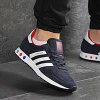 Мужские демисезонные кроссовки Adidas 7821 темно синие с белым, фото 1