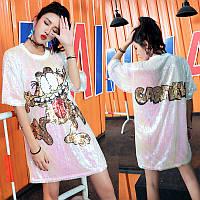 Женское платье туника Garfield с пайетками белое, фото 1