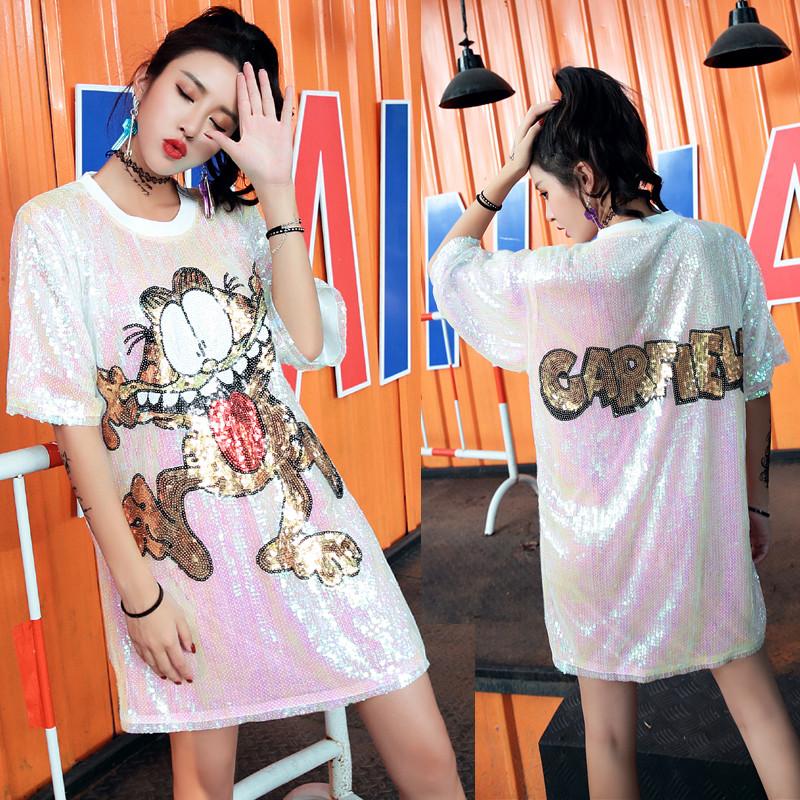 Женское платье туника Garfield с пайетками белое