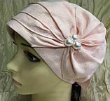 Летняя бандана-шапка-косынка-чалма сиреневая  с хвостом сзади, фото 6