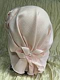 Летняя бандана-шапка-косынка-чалма сиреневая  с хвостом сзади, фото 7
