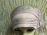 Летняя бандана-шапка-косынка-чалма сиреневая  с хвостом сзади, фото 8