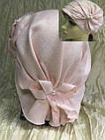 Летняя бандана-шапка-косынка-чалма сиреневая  с хвостом сзади, фото 5