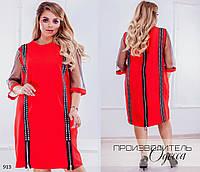 Платье прямого фасона креп-костюмка+евро-сетка 58-60, фото 1