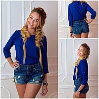 Блузка /блуза с брошью и рукавом 3/4, модель 779 ,цвет электрик