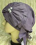 Летняя бандана-шапка-косынка-чалма сиреневая  с хвостом сзади, фото 2