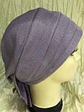 Летняя бандана-шапка-косынка-чалма сиреневая  с хвостом сзади, фото 4