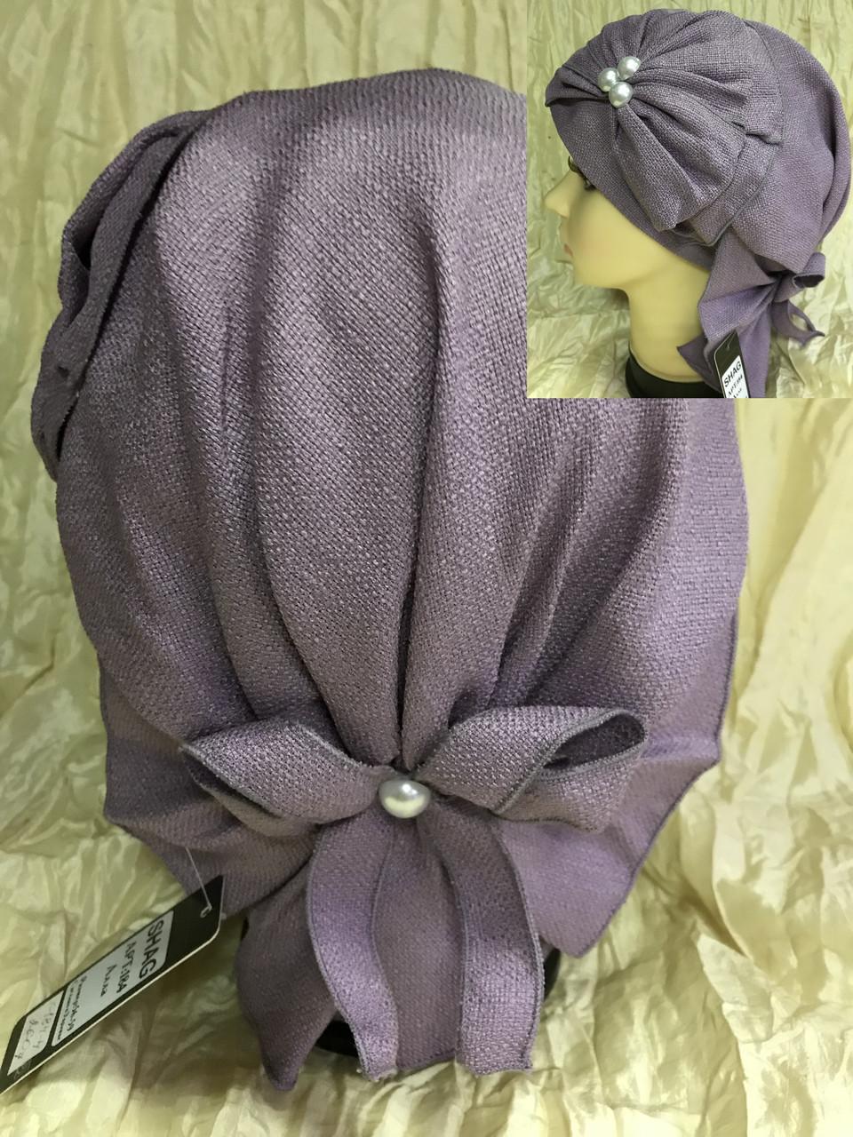 Летняя бандана-шапка-косынка-чалма сиреневая  с хвостом сзади