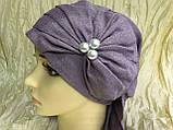 Летняя бандана-шапка-косынка-чалма сиреневая  с хвостом сзади, фото 3