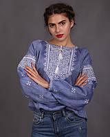 Жіноча вишиванка джинсового кольору, фото 1