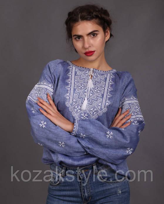 Жіноча вишиванка джинсового кольору