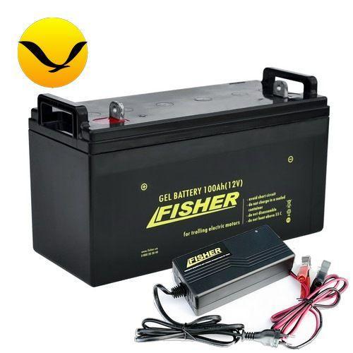 Гелевый аккумулятор Fisher 100a/h + зарядка 10А. Комплект; (Тяговый аккумулятор Фишер);