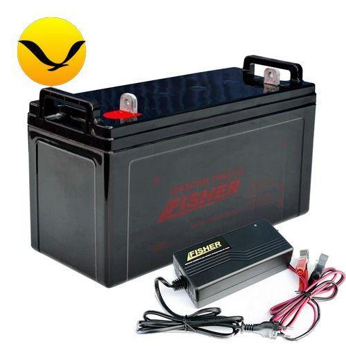 AGM аккумулятор Fisher 100a/h + зарядка 10А. Комплект; (Тяговый аккумулятор Фишер);