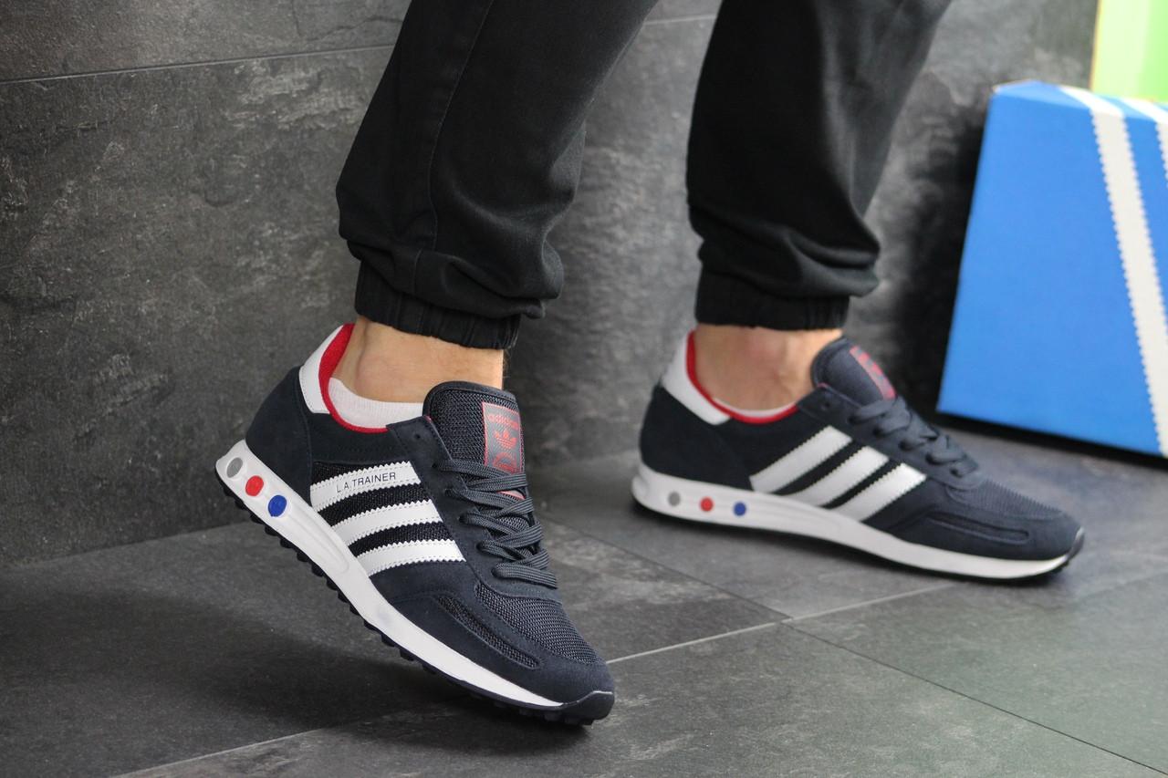 Мужские кроссовки Adidas La Trainer (темно-синие с белым)