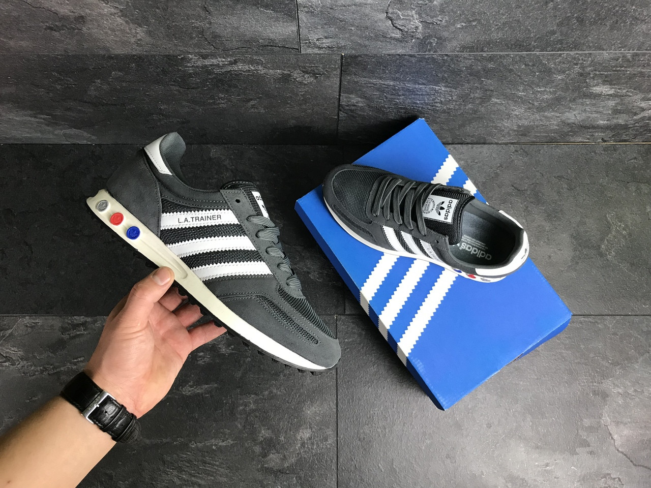 Мужские кроссовки Adidas La Trainer (серые)